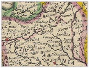 Карта Блаў 1600-х гадоў